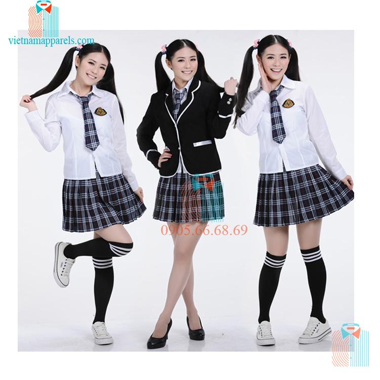 Đồng phục học sinh nữ sọc caro